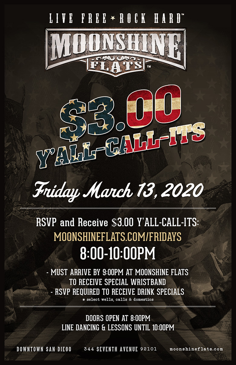 Moonshine Flats - $3 Drinks on Friday from 8-10pm - Sign Up on the Form Below!